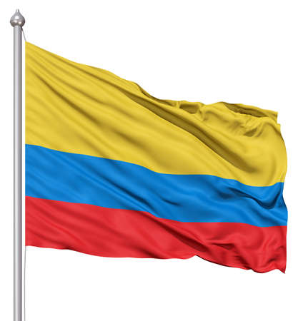 colombia flag: Realistic 3d flag of Colombia fluttering in the wind