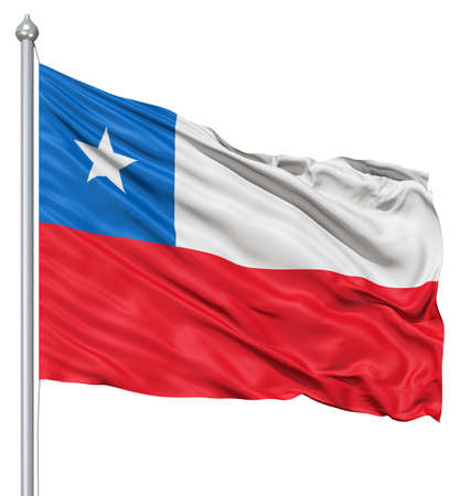 fluttering: Realistic 3d flag of Chile fluttering in the wind