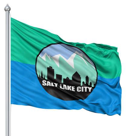 salt lake city: Estados Unidos de Am�rica de la ciudad de Salt Lake marcar ondeando al viento