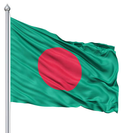 bangladesh: Realistic 3d flag of Bangladesh fluttering in the wind  Stock Photo