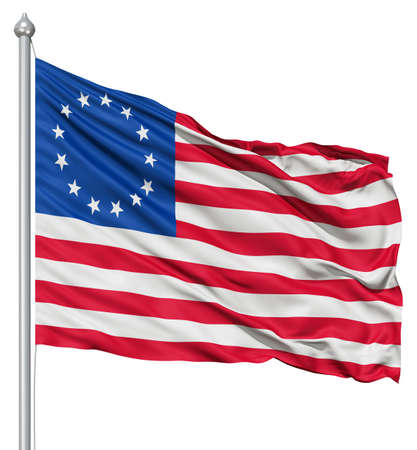 Realistic 3d flag of Betsy Ross fluttering in the wind  Stock Photo