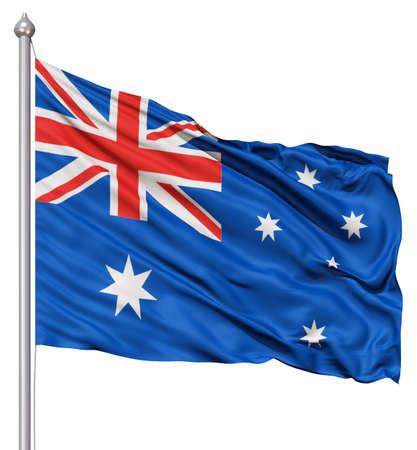 australia flag: Realistic 3d flag of Australia fluttering in the wind