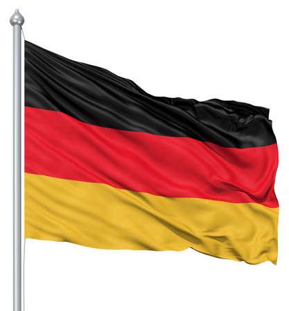 deutschland fahne: Realistische 3D-Flagge Deutschland flattert im Wind