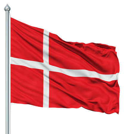 Realistic 3d flag of Denmark fluttering in the wind  photo