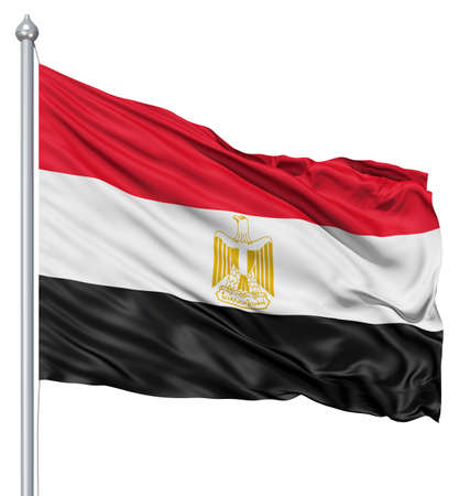 egypt flag: Realistic 3d flag of Egypt fluttering in the wind