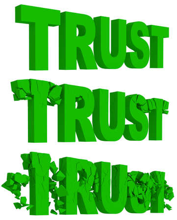 broken trust: Rendered illustration of the cracking and crumbling of the word Trust in three sequential stages