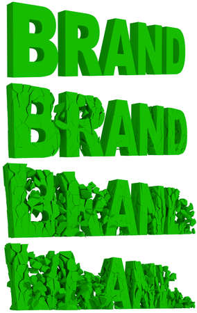 disintegrate: Crumbling and destruction of the word Brand in four sequential stages , 3d render on white