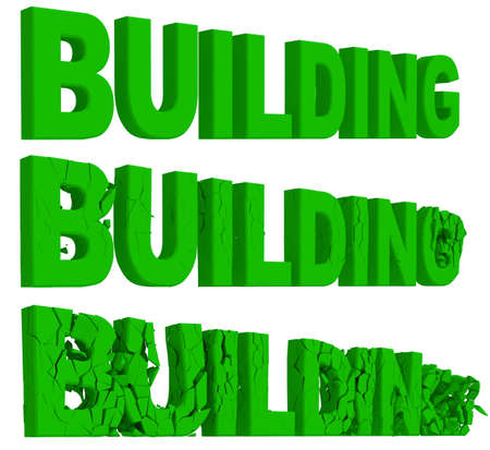 crumbling: Crumbling and destruction of the word Building in four sequential stages , 3d render on white Stock Photo