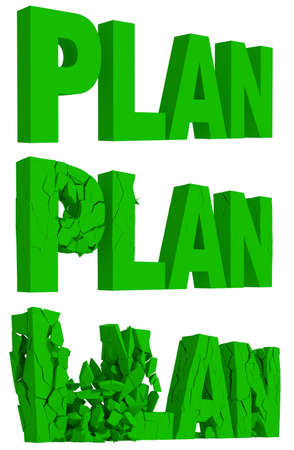 crumbling: Rendered illustration of the cracking and crumbling of the word Plan in three sequential stages Stock Photo