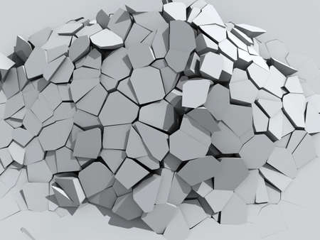 broken down: 3d illustration of a crumbling concrete wall Stock Photo