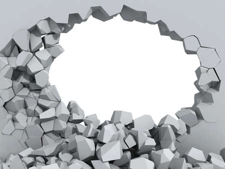 cracked wall: 3d illustration of a crumbling concrete wall and a large hole with white copy space behind Stock Photo