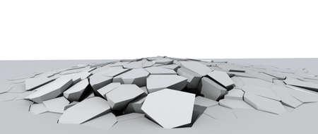3d illustration of a crumbling concrete floor