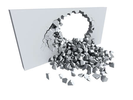 3d illustration of a crumbling concrete wall and a large hole with white copy space behind 스톡 콘텐츠