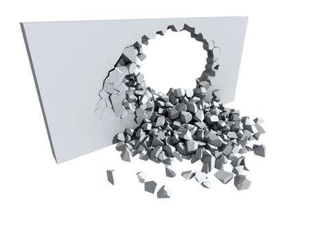 3d ilustraci�n de un muro de hormig�n y el desmoronamiento de un gran agujero con copia espacio blanco en el segundo