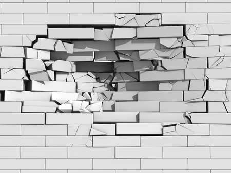 falling down: 3d illustration of a crumbling brick wall with debris and chunks of masonry cascading downwards from a large hole Stock Photo