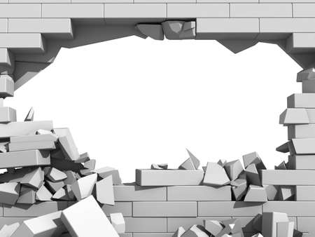 hole in wall: 3d illustration of a crumbling concrete wall and a large hole with white copy space behind Stock Photo