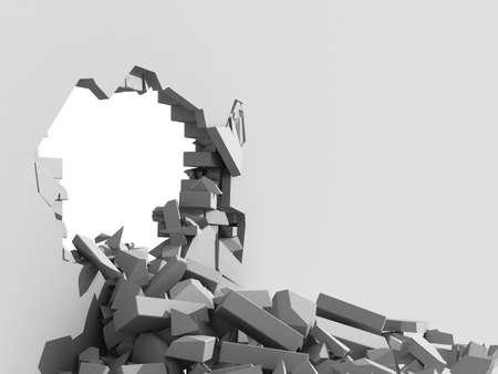 pared rota: 3d ilustración de un muro de hormigón y el desmoronamiento de un gran agujero con copia espacio blanco en el segundo