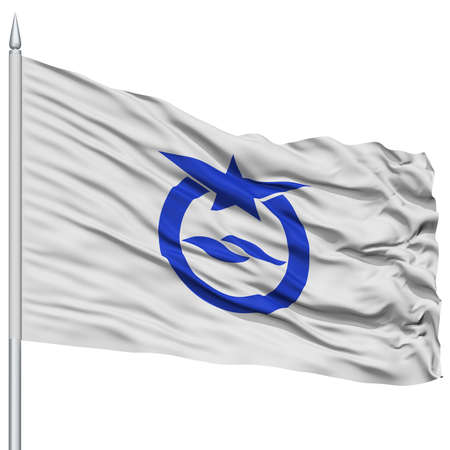 Otsu Capital City Flag on Flagpole, Prefecture of Japan, Isolated on White Background Stok Fotoğraf - 76432449
