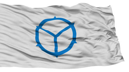 Isolated Matsue Flag, Capital of Japan Prefecture, Waving on White Background, High Resolution