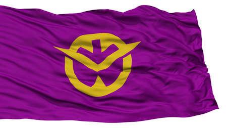 Isolated Okayama Japan Prefecture Flag, Waving on White Background, High Resolution