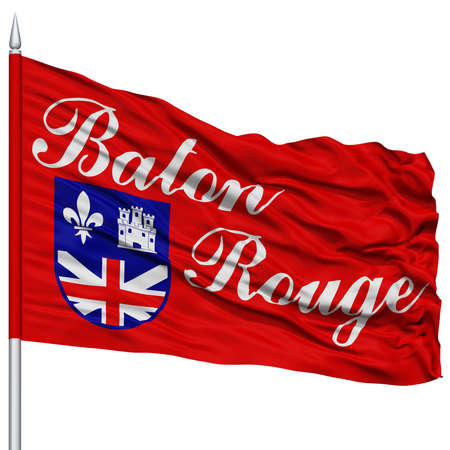 baton rouge: Baton Rouge Flag on Flagpole, Capital of Louisiana State, Flying in the Wind, Isolated on White Background Stock Photo