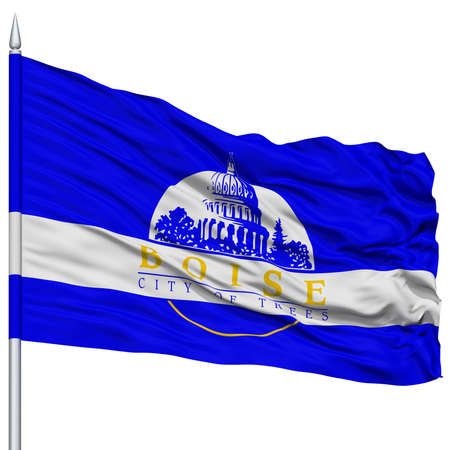 white wave: Boise Flag on Flagpole, Capital of Idaho State, Flying in the Wind, Isolated on White Background Stock Photo
