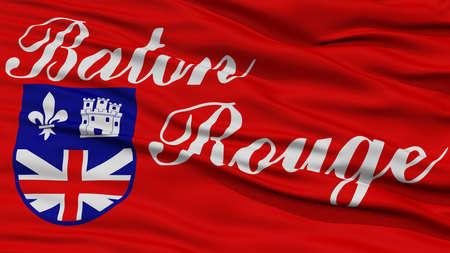 baton rouge: Closeup Baton Rouge Flag, Capital of Louisiana State, Flying in the Wind Stock Photo