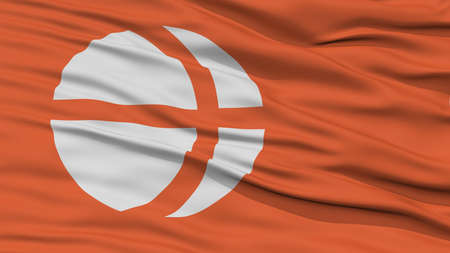 white wave: Closeup Nagano Japan Prefecture Flag, Waving in the Wind, High Resolution
