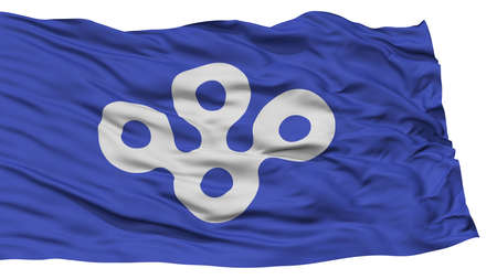 Isolated Osaka Japan Prefecture Flag, Waving on White Background, High Resolution Stock Photo