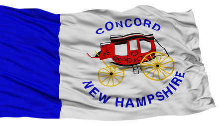 white wave: Isolated Concord Flag, Capital of New Hampshire State, Waving on White Background, High Resolution Stock Photo