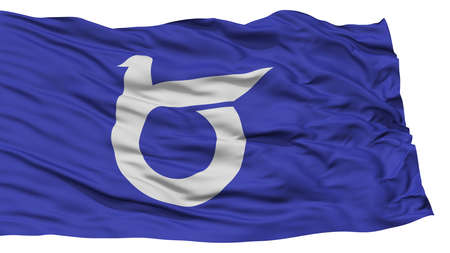 Isolated Tottori Japan Prefecture Flag, Waving on White Background, High Resolution Stock Photo