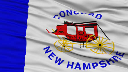 concord: Closeup Concord Flag, Capital of New Hampshire State, Flying in the Wind Stock Photo