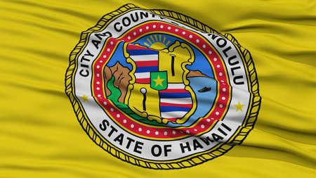white wave: Closeup Honolulu Flag, Capital of Hawaii State, Flying in the Wind
