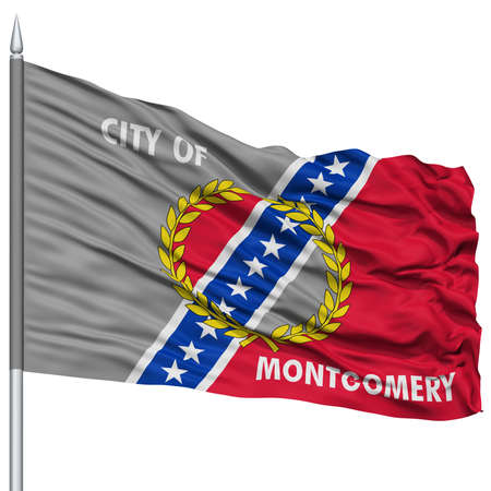 montgomery: Montgomery Flag on Flagpole, Capital of Alabama State, Flying in the Wind, Isolated on White Background