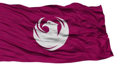 Isolated Phoenix Flag, Capital of Arizona State, Waving on White Background, High Resolution