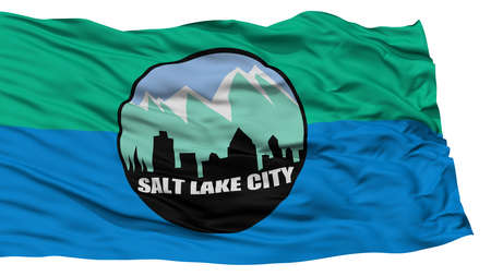 Isolated Salt Lake City Flag, Capital of Utah State, Waving on White Background, High Resolution