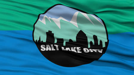 Closeup Salt Lake Flag, Capital of Utah State, Flying in the Wind