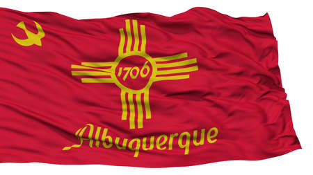 Isolated Albuquerque City Flag, City of New Mexico State, Waving on White Background, High Resolution Stock Photo