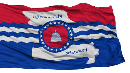 Isolated Jefferson City Flag, Capital of Missouri State, Waving on White Background, High Resolution