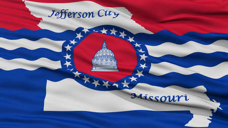 jefferson: Closeup Jefferson City Flag, Capital of Missouri State, Flying in the Wind