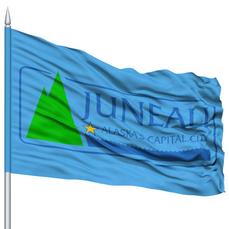 white wave: Juneau Flag on Flagpole, Capital of Alaska State, Flying in the Wind, Isolated on White Background