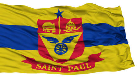 paul: Isolated St Paul Flag, Capital of Minnesota State, Waving on White Background, High Resolution