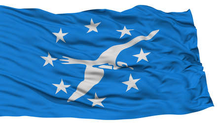 Isolated Corpus Christi City Flag, City of Texas State, Waving on White Background, High Resolution Stock Photo