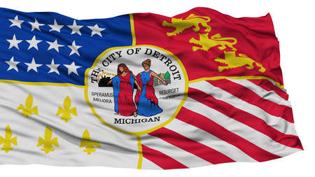 Isolated Detroit City Flag, City of Michigan State, Waving on White Background, High Resolution