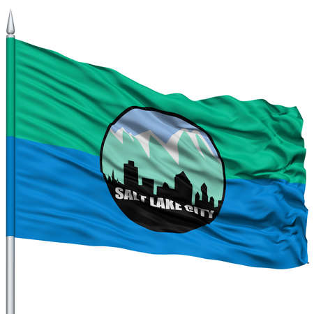 Salt Lake Flag on Flagpole, Capital of Utah State, Flying in the Wind, Isolated on White Background Stock Photo