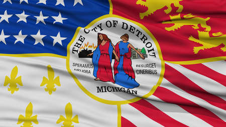detroit: Closeup of Detroit City Flag, Waving in the Wind, Michigan State, United States of America
