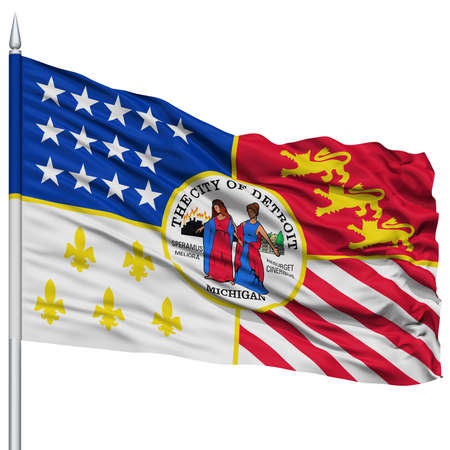detroit: Detroit City Flag on Flagpole, Michigan State, Flying in the Wind, Isolated on White Background