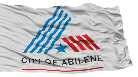 white wave: Isolated Abilene Flag, City of Texas State, Waving on White Background, High Resolution