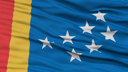 Closeup of Durham City Flag, Waving in the Wind, North Carolina State, United States of America