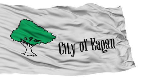 white wave: Isolated Eagan City Flag, City of Minnesota State, Waving on White Background, High Resolution